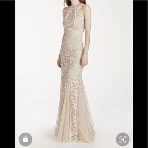 NWT Xscape Fit and Flare Halter Dress/Godet Skirt